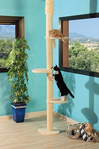 Clevercat Deckenkratzbaum Paris, ideal platzsparend schlank geschnitten. Stufenlos höhenverstellbar mit 3 Aussichtsetagen für Ihren Liebling 7414 24