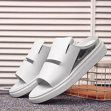 Athletic Shoes Primavera Autunno Coppia Scarpe da uomo Tulle casuale Tallone piano Lace-up Nero / Blu Nero sandali US7 / EU39 / UK6 / CN39