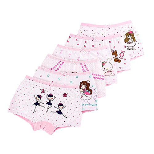 LeQeZe 6 Pack Little Girls Boyshorts Knicker Baby Girl Cotton Lovely Boxer Briefs Hipster Underwear Size 2-11 Years