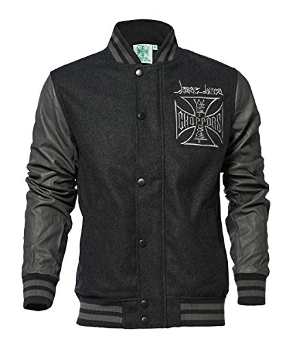West Coast Choppers Jacke OG Cross Wool Baseball Jacket, Color:grey/black;Größe:4XL