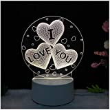 Lámpara de Mesa estéreo LED de luz Nocturna 3D Torre de Alces Dormitorio Luna lámpara Creativa de Dibujos Animados nórdicos Amor 4