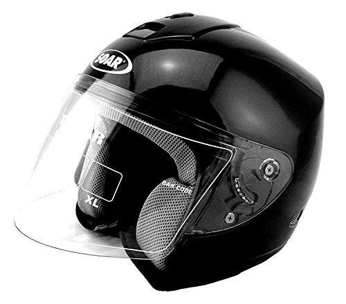 KED SOAR Motorradhelm T-Star, Black, Größe XS, Halbhelm, ideal für Brillenträger!
