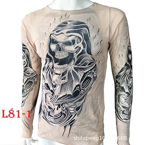 tzxdbh Tattoo Tattoo Langarm T-Shirt Damen Fan Digitaldruck Boden Shirt Musik Festival Kostüm L81-1 Print Print 170CM-182CM 60KG-110KG