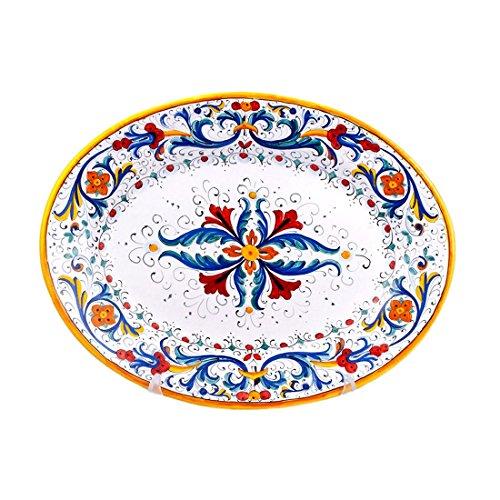 MICHELANGELO Peint à la main, Poterie - Plateau ovale décoration Ricco Deruta en Céramique 38x29 H4 cm (BLEU)