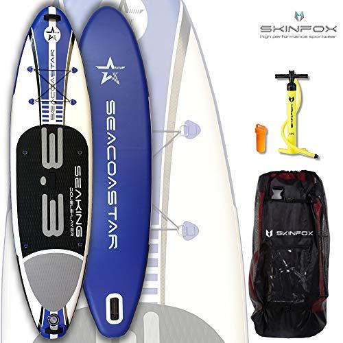 SKINFOX SEACOASTAR SEAKING aufblasbares 2-lagiges Double-Layer Inflatable SUP Paddelboard Stand Up (325x80x15/Tragkraft 165 kg) Carbon-Set blau (Board,Bag,Pumpe)