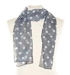 Grau weiß gepunktetes Halstuch Conny, ca. 36 x 160 cm, flottes Damen Schaltuch weiß gepunketer Schal im 50er Jahre Look