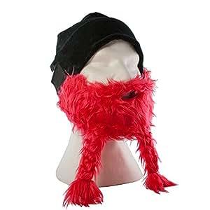 Lustige Bartmütze für Herren und Damen - Skimaske - Universalgröße - Farbe: Rot