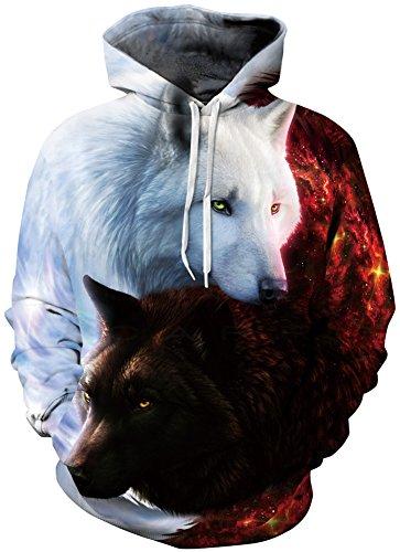 EUDOLAH Herren 3D Druck Kaputzenpullover Hoodies mit Tasche Langarm Bunt mit Kaputzen (L/XL (Brustumfang: 114-134CM), A-Engel und Teufel Wolf)