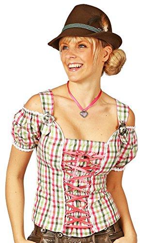 Carmen Trachtenbluse Claudia mit Trägern - Rosa/Grün Gr. S - Zauberhafte Damen Bluse