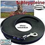 bio-leine 5m Schleppleine Hundeleine Leine aus Beta Biothane mit Karabiner, 16mm breit, Schwarz