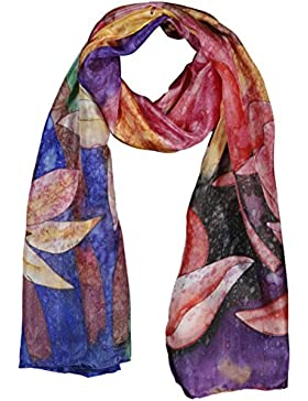Pañuelo Bufanda de 100% Seda Pintado a Mano - Coloridos Lirios de Día