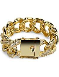 Cadena para Mujer para Hombre Hip Hop Curb Pulsera Cubana Plateada Oro Pulsera Plateada Superposición Joyería Moda Superior con Pedrería Clara,Gold
