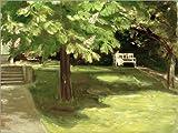Posterlounge Leinwandbild 130 x 100 cm: Gartenbank Unter Kastanien von Max Liebermann/akg-Images - fertiges Wandbild, Bild auf Keilrahmen, Fertigbild auf Echter Leinwand, Leinwanddruck