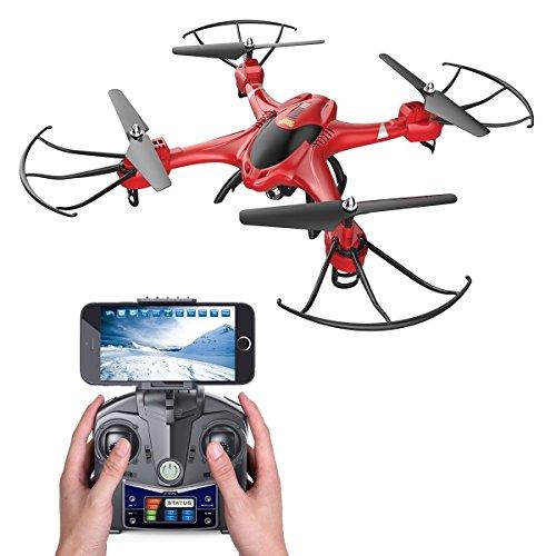Holy Stone HS200 FPV Drohne RC Quadrocopter mit HD Kamera WIFI Live Übertragung 2.4GHz 6-Axis Gyro Helikopter ferngesteuert mit Fernbedienung und App Funktion, Quadrocopter ferngesteuert mit camera,live video, One Key Start, automatische Höhenhaltung, Headless-Modus, Schwerkraft-Sensor für Anfänger und Kinder ab 14 Jahre, Farbe Rot