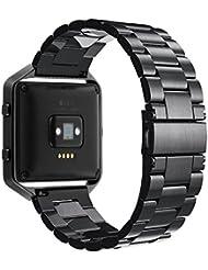 Fitbit Blaze Bracelet, Simpeak Bracelet en Acier Inoxydable Remplacement Band Strap pour Fitbit Blaze Smart Fitness Watch - Noir