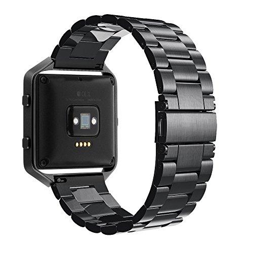 Simpeak Bracelet Compatible avec Fitbit Blaze, Bracelet en Acier Inoxydable Remplacement Band Strap pour Fit bit Blaze Bracelet - Noir (sans Monture)