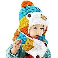 Wiwi.f Sombreros del bebé del Invierno, Conjunto de la Bufanda del Sombrero del Invierno del niño, Bufandas Calientes del Sombrero del Punto del bebé,