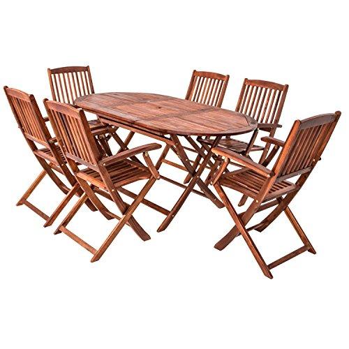 Gartenmöbel holz günstig  7 teilige Sitzgruppe 6 Stühle 1 Tisch Gartenmöbel Holz Gartentisch ...