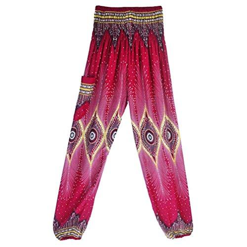 Damen Hosen Sommer LHWY Männer Frauen Thai Harem Hosen Boho Festival Hippie Kittel High Taille Yoga Hosen (One Size, Hot Pink)
