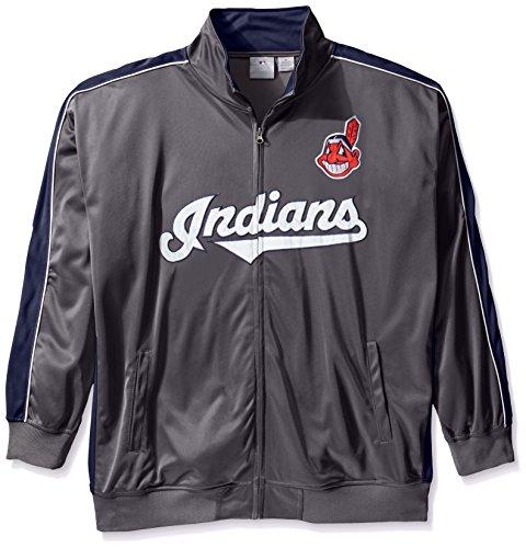 MLB Cleveland Indians Herren Team Reflektierende Tricot Track Jacket, 4X/hoch, anthrazit/Marineblau (Track Jacket Charcoal)
