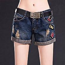 Pantalones cortos de mezclilla Cierres sueltos Ms shorts Pantalones calientes Agujeros Algodón azul ( Size : 30 )