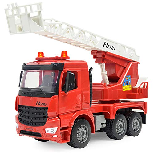 SLONG Fire Truck Toy Simulation Children ' S Engineering Ladder Truck Sound and Light Inertia Fire Rescue Vehicle Model (Ladder Fire Truck Spielzeug)