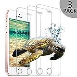 [3 Stück] iPhone SE 5S 5C 5 Panzerglas Schutzfolie, Wsky Displayschutzfolie für 4,0 Zoll 9H Härte 0.25 mm Ultradünne, Panzerglasfolie für iPhone SE/5S/5/5C