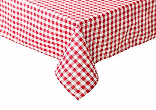 TextilDepot24 Nappe de Table Motif Carreaux 100% Coton, Coton, Rouge et Blanc à Carreaux, 110x260 cm eckig