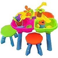 Mesita para jugar con agua y arena - 4 en 1 - Con muchos accesorios y dos taburetes