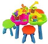 Tavolo da gioco con sabbia e acqua - 4 in 1 - con 2 sgabelli e tanti fantastici accessori
