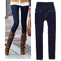 Delgado mujeres de maternidad Denim Blue Jeans tamaño 46 , pierna longitudes de 32 pulgadas