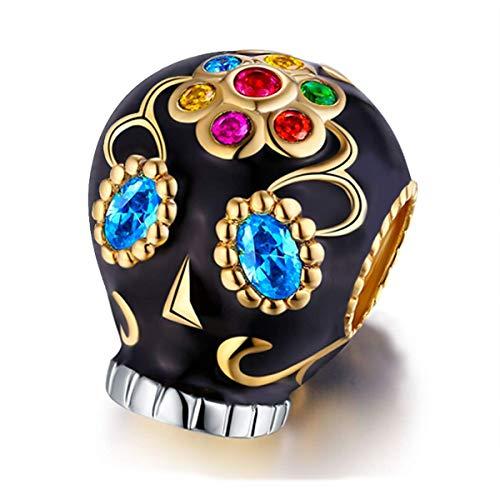 FOREVER QUEEN Totenkopf Charm Bead für Armbänder 925 Sterling Silber Anhänger für europäische Armbänder & Halsketten
