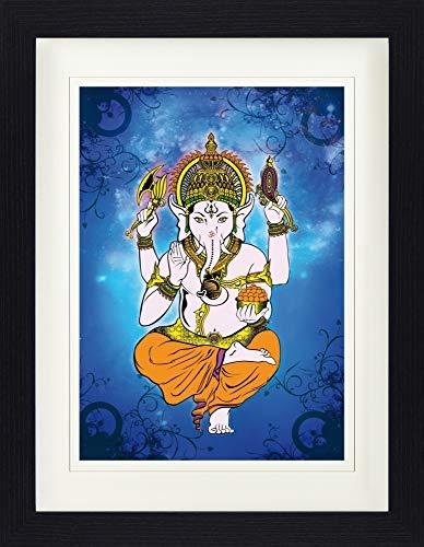 1art1 Spiritualität - Ganesha, Entferner Der Hindernisse Gerahmtes Bild Mit Edlem Passepartout | Wand-Bilder | Kunstdruck Poster Im Bilderrahmen 40 x 30 cm