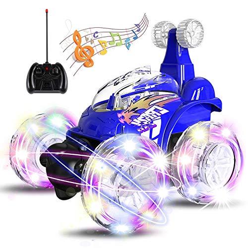 UTTORA Ferngesteuertes Auto, Kinderspielzeug für Jungen Mädchen, Dual Modi 360° Drehbarer Stunt Rennwagen LED-Lichter, USB-Kabel, Kontrollierte Schaltermusik ,Baufahrzeuge,Geschenk für Jungen Mädchen