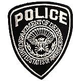 Aufnäher / Bügelbild - Police Polizei Logo - schwarz - 7 x 9 cm - Patch Aufbügler Applikationen zum aufbügeln Applikation Patches Flicken