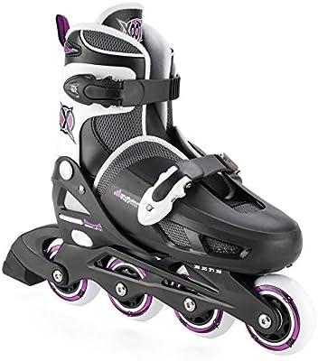 Para las niñas Xootz patines en línea ajustables y cuchillas - rodillo acolchado negro, talla 33-37
