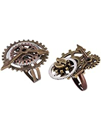 IPOTCH 2 Piezas Vintage Steampunk Reloj Parte Gears Hombres Mujeres Anillos Joyería 17mm