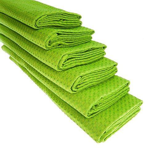 6 intensiv-grüne Geschirrtücher aus 100{50c5f6a0906f4cdbe7cdbf9c8975e9fd32dd56c42e18730414eda980ba0feba9} Baumwolle/Waffel-Piqué/Apfelgrün / Küchentuch/Putztuch / Handtuch/Geschirrtuch / sattes grün