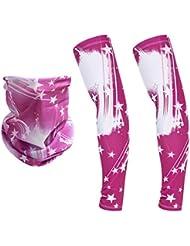 Gazechimp 1 Par de Mangas de Brazo + 1 Pieza Bufanda de Cara Cuello Escalada Equitación Ciclismo Golf Tenis Seguridad - Rosa Blanco
