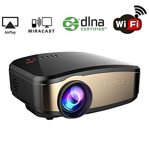 WiFi Video Beamer, HuiHeng Wireless Projektor Mini LCD Beamer Full HD Multimedia Projektor für Party Home Entertainment Video Spiele Unterstützung AirPlay Miracast Wireless Display