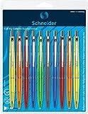 Schneider K20 Icy Colours Druckkugelschreiber (dokumentenechte Mine - Strichstärke M, Made in Germany) 10er Blisterkarte, sortiert, Schreibfarbe: blau