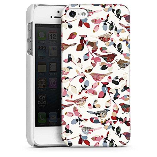 Apple iPhone 5s Housse Étui Protection Coque Oiseaux Printemps Motif CasDur blanc