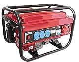 Generatore di corrente a benzina con 3 gruppi elettrogeni, monofasico, 230/380V, 5500W, deposito da 15L