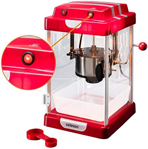celexon CinePop CP1000 Máquina de palomitas de maíz - 22x17,5x28,5cm - Rojo-Retro/diseño Cine- Caldera de acero inoxidable - Popcorn-Maker con agitador integrado