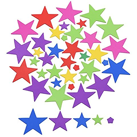 Outus 190 Pieces Star Foam Stickers for DIY Craft Ornament, Assorted Color and Size