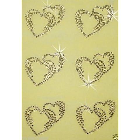 Doppio in ghisa a forma di cuore, con perline, diamanti artificiali e trasferimento Patch Kid
