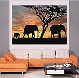 XIANRENGE Nordic Druckplakat Malerei Sonnenuntergang Landschaft Tier Elefanten Moderne Abstrakte Leinwand Kunst Bilder Für Wohnzimmer Wohnkultur 80×120Cm