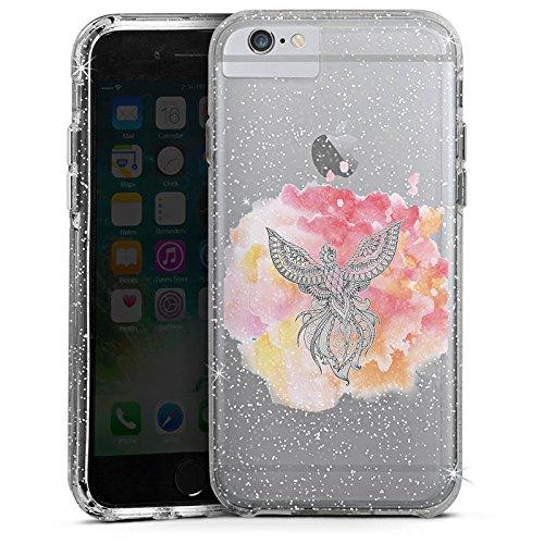Apple iPhone 8 Bumper Hülle Bumper Case Glitzer Hülle Pfau Mandala Aquarell Bumper Case Glitzer silber