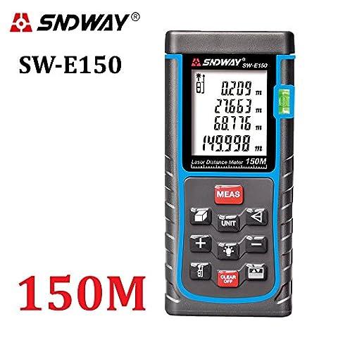 sndway® télémètre laser numérique portable mesure Ruban adhésif avec niveau à bulle laser rangefiner Gamme Finder 120M / 120M, grand écran LCD avec rétroéclairage [Classe énergétique A++]