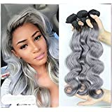 16 Inch : Superwigy Peruvian Ombre Body wave Virgin Hair 1b/grey Two Tone Human Hair Bundles 12-28 inch Mixed Length Good Quality One bundle 50g